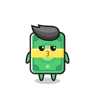 L'espressione annoiata di simpatici personaggi di denaro, design in stile carino per maglietta, adesivo, elemento logo