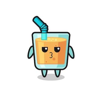 L'espressione annoiata di simpatici personaggi di succo d'arancia, design in stile carino per maglietta, adesivo, elemento logo
