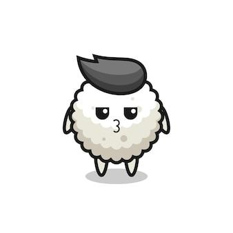 L'espressione annoiata di simpatici personaggi di palline di riso, design in stile carino per maglietta, adesivo, elemento logo