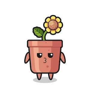 L'espressione annoiata di simpatici personaggi in vaso di girasole, design in stile carino per maglietta, adesivo, elemento logo