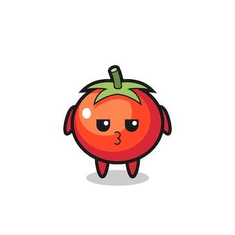 L'espressione annoiata di simpatici personaggi di pomodori, design in stile carino per maglietta, adesivo, elemento logo