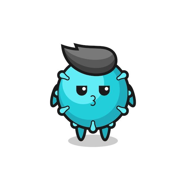L'espressione annoiata di simpatici personaggi di virus, design in stile carino per maglietta, adesivo, elemento logo