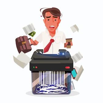 Uomo d'affari noioso in paper shredder. sindrome del burnout