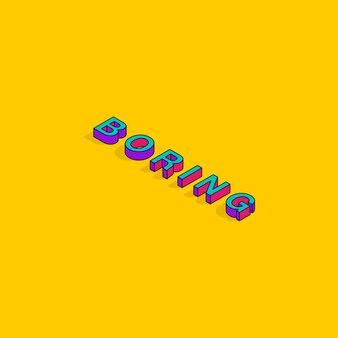 Testo noioso 3d isometrico font design pop art tipografia lettering vector illustration