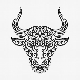 Borneo kalimantan dayak ornament bull illustration