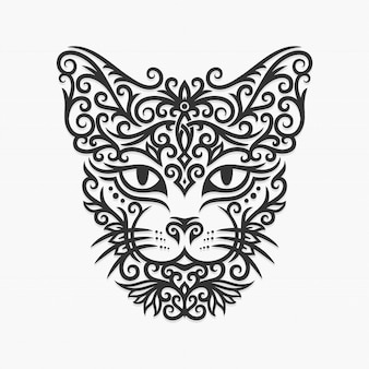 Borneo kalimantan dayak ornament cat illustration