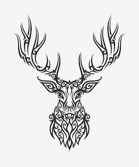 Borneo kalimantan dayak ornament deer illustration