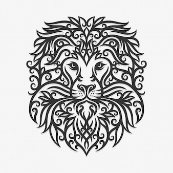 Borneo kalimantan dayak ornament lion illustration