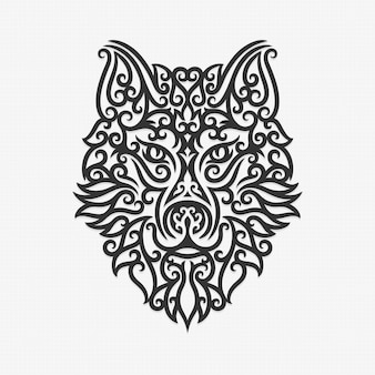 Borneo kalimantan dayak ornament wolf illustration