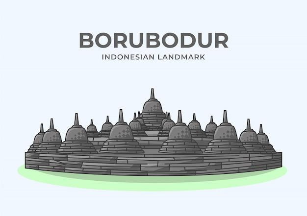 Illustrazione minimalista del punto di riferimento indonesiano di borubodur
