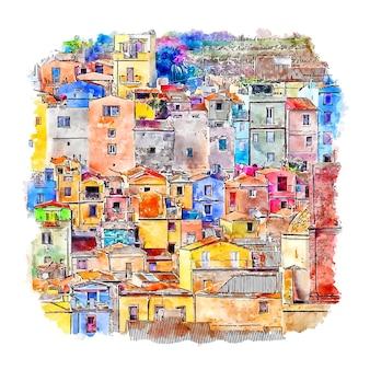 Illustrazione disegnata a mano di schizzo dell'acquerello di bosa sardegna italia