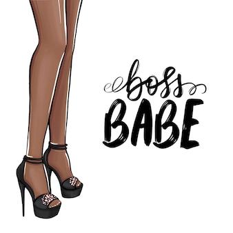 Boss, piccola. ragazza con i tacchi alti. illustrazione di moda. gambe femminili in scarpe.