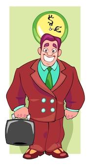 L'uomo d'affari capo ride e tiene la valigia colore piatto cartone animato pop art stile retrò