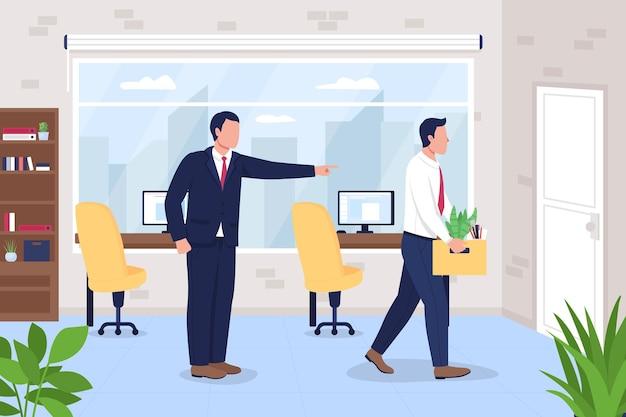 Boss licenziamento dipendente dall'illustrazione piana di lavoro d'ufficio.