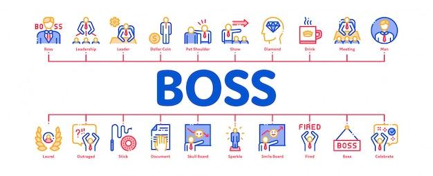 Insegna di infographic minima di boss leader company