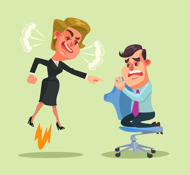 Il personaggio della donna capo urla all'uomo dipendente. illustrazione di cartone animato piatto