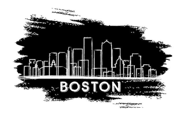 Siluetta dell'orizzonte della città di boston massachusetts usa. schizzo disegnato a mano. viaggi d'affari e concetto di turismo con architettura moderna. illustrazione di vettore. paesaggio urbano di boston con punti di riferimento.