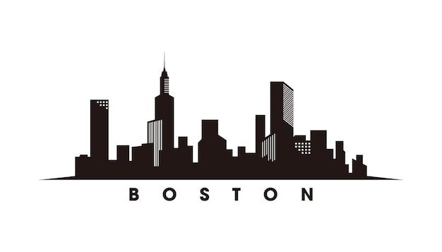 Vettore della siluetta dell'orizzonte di boston