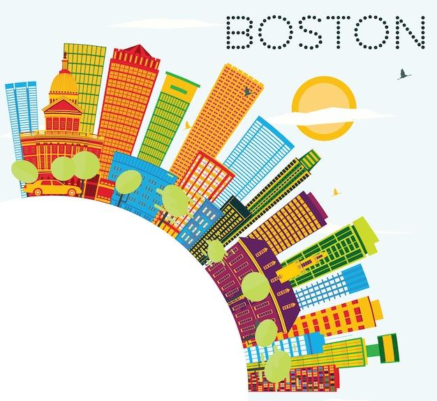 Skyline di boston con edifici di colore, cielo blu e spazio di copia. illustrazione di vettore. viaggi d'affari e concetto di turismo con edifici moderni.