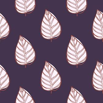 Modello senza cuciture delle siluette astratte botaniche della foglia. forme floreali bianche con contorno su sfondo viola.