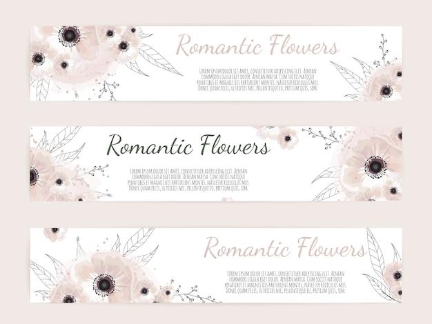 Baners botanici con fiori selvatici