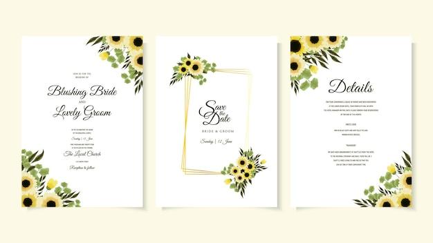 Modello di biglietto di invito per matrimonio floreale giallo botanico con foglie di fiori selvatici luminosi