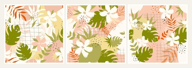 L'arte della parete minima astratta botanica ha impostato il design della carta da parati estetica con foglie di fiori