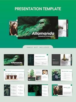 Modello di opuscolo botanico con colore verde.