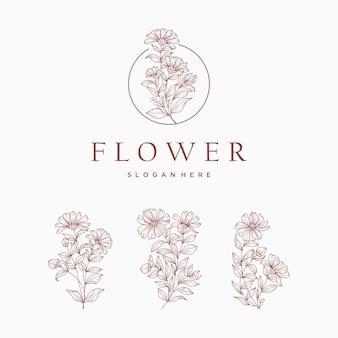 Logo di fiori botanici. set di elementi floreali disegnati a mano