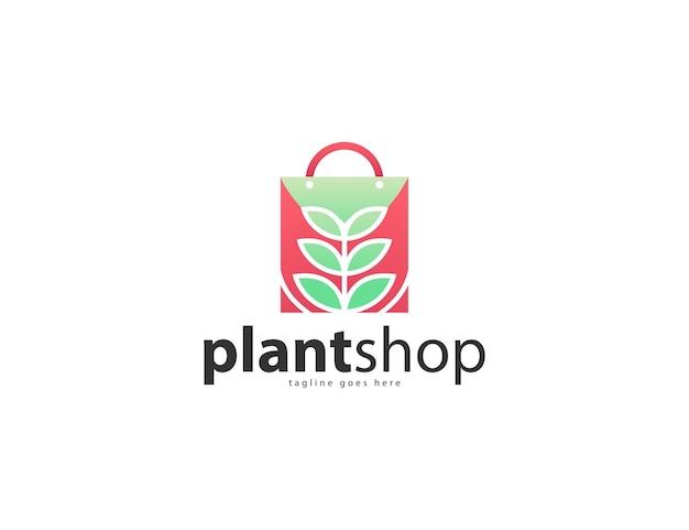 Design del logo del negozio di negozi botanici o di giardinaggio