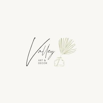 Modello di progettazione di logo di vettore di cosmetici linea disegnata a mano botanica