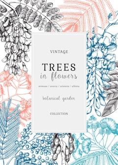 Illustrazione botanica con alberi disegnati a mano in fiori. carta d'epoca