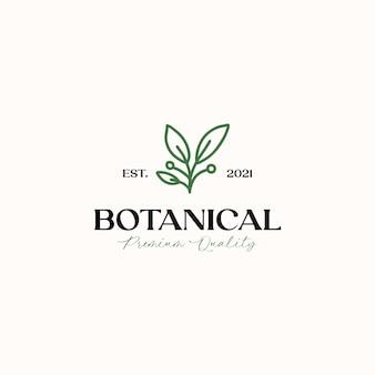 Modello di logo monolinea foglia botanico isolato in sfondo bianco