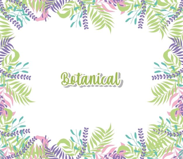 Design del telaio di foglie botaniche della decorazione botanica dell'ornamento del giardino della pianta della natura floreale