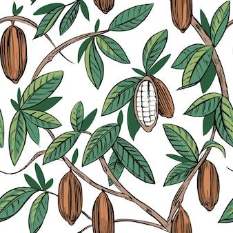 Modello senza cuciture dell'illustrazione disegnata a mano del profilo botanico