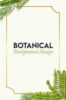 Poster botanico con foglie e cornice dorata