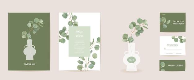 Progettazione botanica del modello della carta dell'invito di nozze realistico, insieme della struttura del verde delle foglie tropicali. vettore dell'acquerello di rami di foglia verde di eucalipto. save the date poster moderno, sfondo di lusso