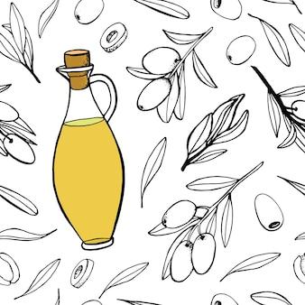 Modello botanico senza cuciture di foglie di ramoscelli di olive e bottiglia di olio di vetro illustrazioni fatte a mano