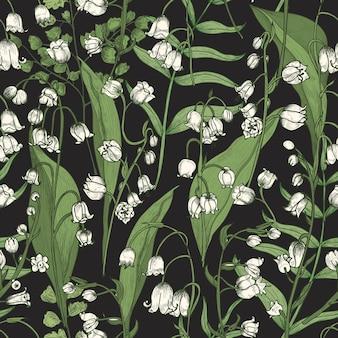 Modello senza cuciture botanico con bellissimi fiori di mughetto in fiore sul nero