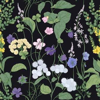 Modello senza cuciture botanico con fiori selvatici in fiore e piante fiorite di prato su sfondo nero.