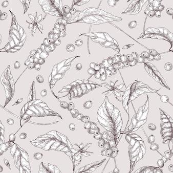 Modello senza cuciture botanico con rami di albero di caffè e foglie disegnate con linee di contorno su sfondo chiaro.