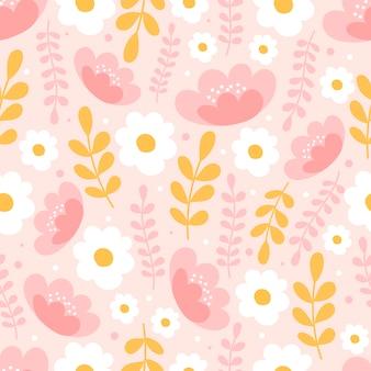 Modello senza cuciture botanico con fiori su sfondo rosa pastello. sfondi di foglie e fiori.