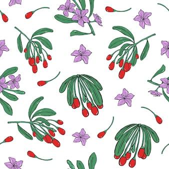 Modello senza cuciture botanico con bacche rosse fresche di goji e fiori viola su fondo bianco.