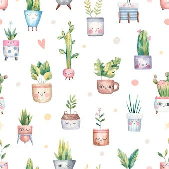 Modello botanico senza cuciture, con piante domestiche, piante grasse, monstera, cactus in un vaso di fiori con occhi, illustrazione carina