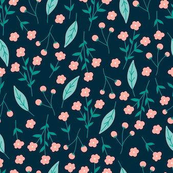 Modello senza cuciture botanico con fiore rosa e foglie verdi.