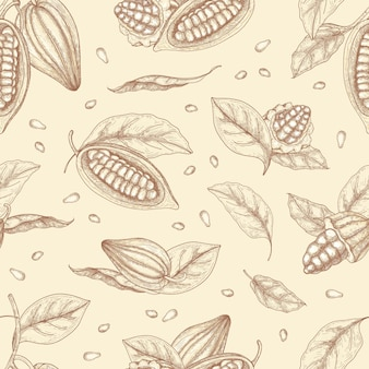 Modello senza cuciture botanico con baccelli o frutti di fave di cacao e foglie disegnate a mano con linee di contorno su sfondo chiaro