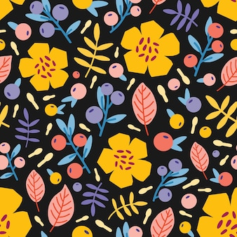 Modello botanico senza cuciture con fiori, bacche e foglie che sbocciano in estate
