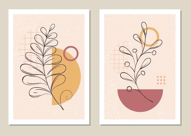 Set botanico di arte murale in stile memphis.