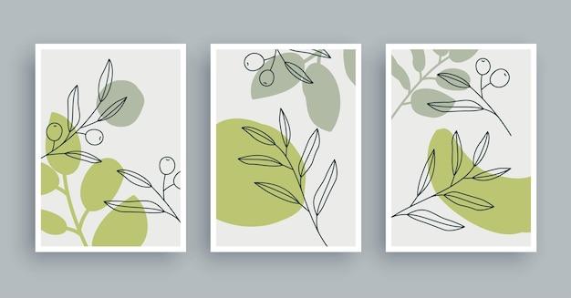 Fondo botanico della pittura di arte della parete arte del fogliame e linea disegnata a mano con forma astratta