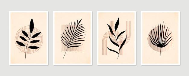 Set di arte murale botanica arte murale minimal e naturale disegno di fogliame boho con forma astratta